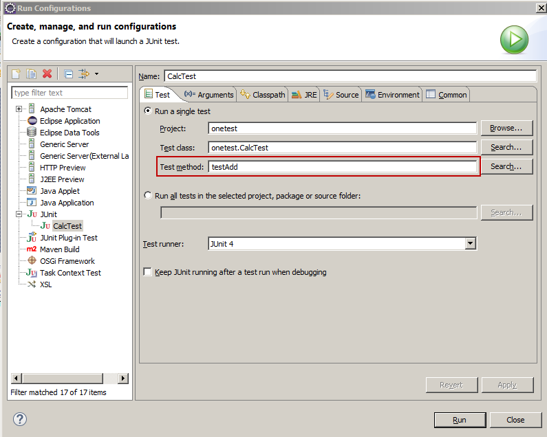 Execute specific unit test in Maven using Eclipse - Turreta com