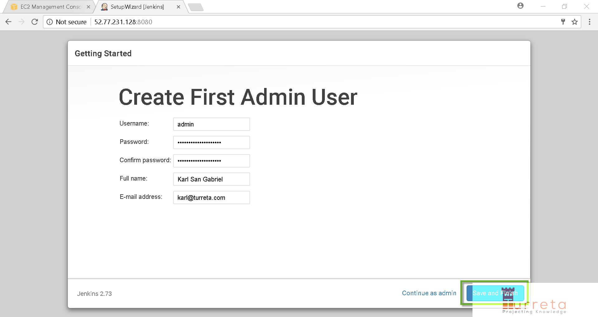 Create first admin user