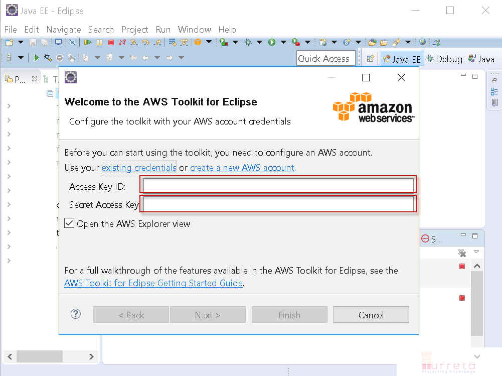 Configure AWS Toolkit for Eclipse with Account Credentials - Turreta com